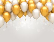 Happy Birthday Balloons. Gold and silver birthday balloons background. Happy Birthday Balloons vector illustration