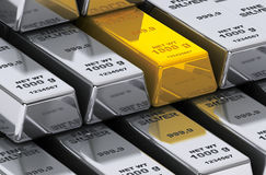 Gold and silver bars Stock Photos