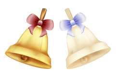 Gold and silver bells with bow Christmas bells. With ribbons set vector white background Stock Images