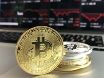 Gold and Silver Bitcoins Royalty Free Stock Images