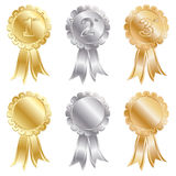 Gold silver bronze. Gold, silver and bronze rosettes isolated on white Royalty Free Stock Images