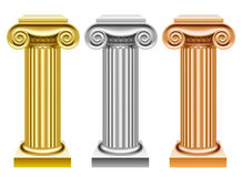 Gold, silver and bronze ancient columns Royalty Free Stock Images