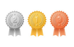 Gold, silver, bronze award badges with color ribbons vector set. Metal medal trophy seals for winners of the 1st, 2nd & 3rd places. Gold, silver, bronze award Stock Images