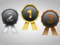 Gold, Silver and Bronze award badges Stock Photo