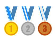 Gold silver and bronze award medals Royalty Free Stock Photos
