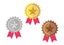 Gold, Silver, Bronze Award Prize Badge Royalty Free Stock Photo