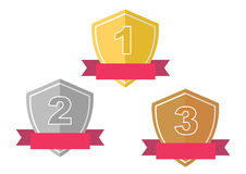 Gold, Silver, Bronze Award Prize Badge Stock Photos