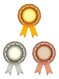 Gold silver bronze award ribbons bow Royalty Free Stock Image