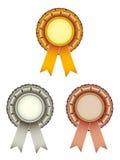 Gold silver bronze award ribbons bow Royalty Free Stock Image