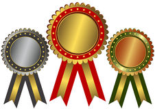 Gold, silver and bronze awards Royalty Free Stock Photography