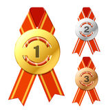 Gold, silver and bronze awards. Vector illustration of gold, silver and bronze awards royalty free illustration