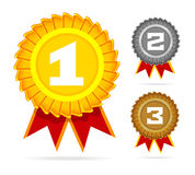Gold, silver and bronze awards. Stock Image