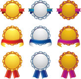Gold silver bronze awards with banner design set Royalty Free Stock Image