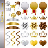 Gold silver bronze awards set Royalty Free Stock Photos