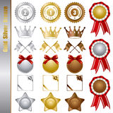 Gold silver bronze awards Set Stock Photos