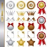 Gold silver bronze awards Set Stock Photos