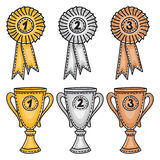 Gold, silver and bronze awards set Stock Photography