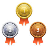 Gold, silver and bronze awards. Vector. Stock Image