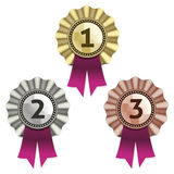 Gold, silver and bronze awards. Stock Images