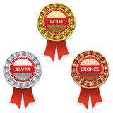 Gold, silver and bronze awards. Stock Photography
