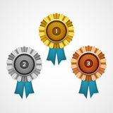 Gold, silver and bronze awards. Vector. Stock Photography