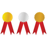 Gold, silver and bronze badges Royalty Free Stock Images