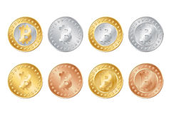 gold, silver and bronze bitcoin coins. EPS Royalty Free Stock Photography