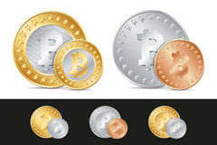 gold, silver and bronze bitcoin coins Stock Photography