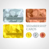 Gold, silver and bronze cards and medals set in. Gold, silver and bronze membership cards or backgrounds and medals set in polygonal style. Gift, voucher Royalty Free Stock Image