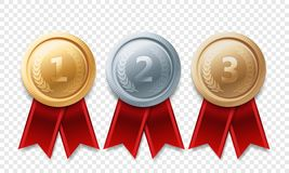 Gold silver bronze champion medal vector awards. Gold, silver, bronze champion medal set. Vector metal award trophy achievement with red ribbon  on transparent Stock Photography