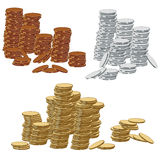 Gold, silver and bronze coins. Vector illustration of gold, silver and bronze coins Stock Photography