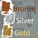 Gold, silver and bronze coins. Vector illustration of gold, silver and bronze coins and inscriptions Stock Image