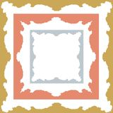 Gold, silver and bronze colored symmetrical, square shaped frame designs Stock Photo