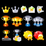 Gold, Silver, Bronze Contest Awards icon sets. Creative Icon Des Royalty Free Stock Image