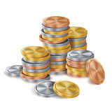 Gold, Silver, Bronze, Copper Coins Stacks Vector. Golden Finance Icons, Sign, Success Banking Cash Symbol. Realistic. Gold, Silver, Bronze, Copper Coins Stacks Stock Photo