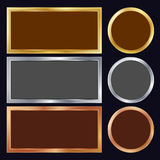 Gold, Silver, Bronze, Copper Metal Frames Vector. Rectangular, Round. Realistic Metallic Plates Illustration. Gold, Silver, Bronze, Copper Metal Frames Vector Vector Illustration