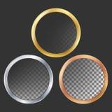 Gold, Silver, Bronze, Copper Metal Frames Vector. Round. Realistic Metallic Plates Illustration Stock Photos