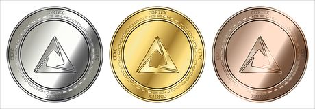 Cortex CTXC coin set. Gold, silver and bronze Cortex CTXC cryptocurrency coin. Cortex CTXC coin set royalty free illustration