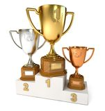 Gold, silver and bronze cup Stock Photo