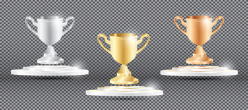 Gold, Silver and Bronze Cup on Transparent Background. Stock Photography