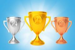 Gold silver bronze cup winner award blue. 3d render Stock Image
