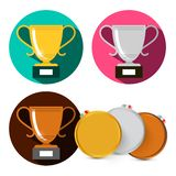 Gold Silver and Bronze Cups. Vector Medals Set Isolated on White Background vector illustration