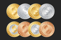 gold, silver and bronze dollar coins Stock Images
