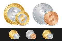 gold, silver and bronze dollar coins Stock Photo