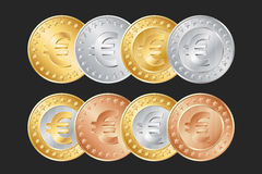 gold, silver and bronze euro coins Stock Image