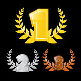 Gold, Silver, Bronze - First, Second and Third Place. Vector Icons Set Royalty Free Stock Photos