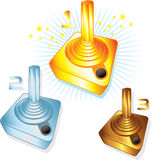 Gold Silver and Bronze gamers joysticks Stock Photography
