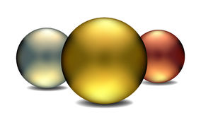 Gold, Silver and Bronze Globes Stock Images