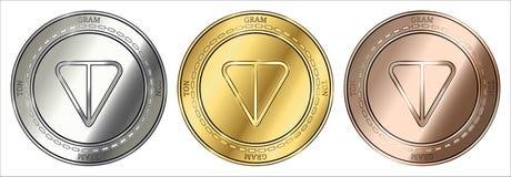 GRAM TON coin set. Gold, silver and bronze GRAM TON cryptocurrency coin. GRAM TON coin set Stock Image