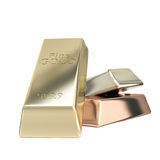 Gold, silver, bronze group of bars Stock Image